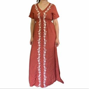 Roolee embroidered pink maxi dress shirt sleeve